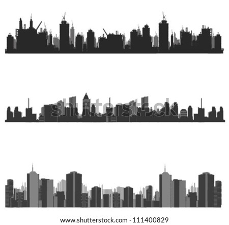 Vector illustration.City skyline.construction site and cranes