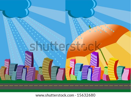 vector illustration 2 city views