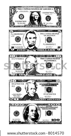 Vector illustration (cleaned trace) of American Dollar bills.