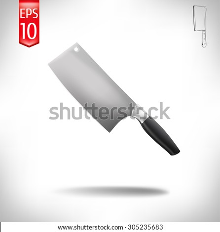 vector illustration. cleaver on a white background. meat knife