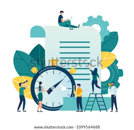 Vector illustration, clock with a sheet on a white background, a time log, express services for processing documents, schedule of important events