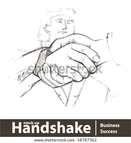 Vector illustration. Closeup of business people shaking hands