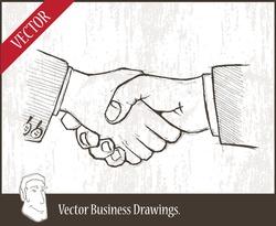 Vector illustration.  closeup of two businessmenâ??s handshake