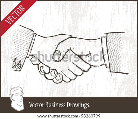 Vector illustration.  closeup of two businessmenâ??s handshake