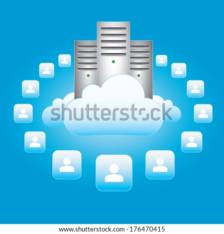 Vector illustration - cloud computing and connectivity concept