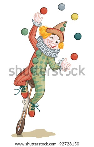 Vector illustration, clown juggling, card concept, white background.