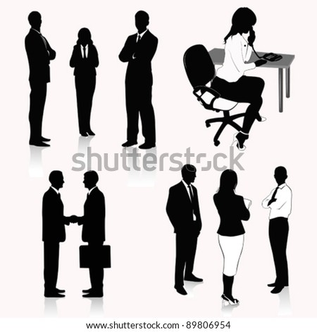 Vector Illustration: Collection of business people silhouettes