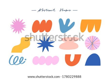 Vector illustration collection of different abstract shapes. Colorful abstract elements for cards, posters, stationery. Abstraction, figures, geometric shapes. Stockfoto ©