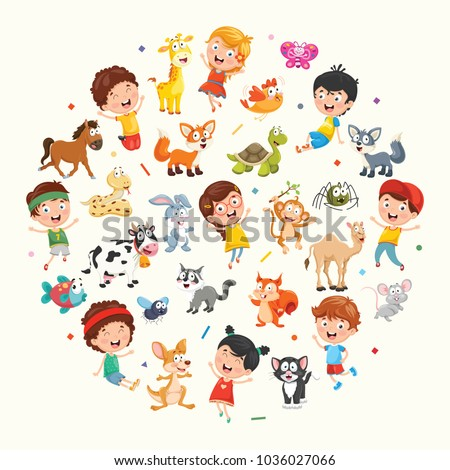 Vector Illustration Collection of Kids and Animals