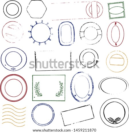 Vector illustration. Collection of old rubber stamp postage set in various colors.