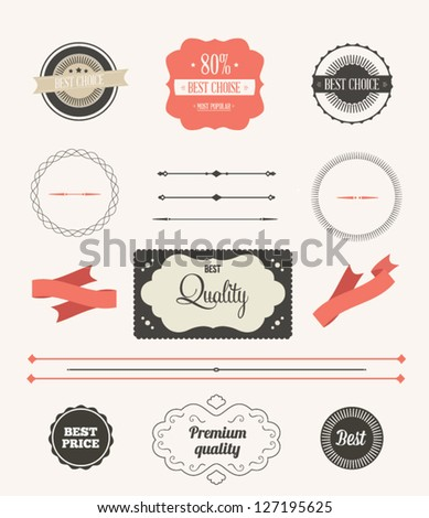 Vector illustration. Collection of Premium Quality and Guarantee Labels. Collection of Labels and vector element with retro vintage styled design. Set of retro ribbons and labels.