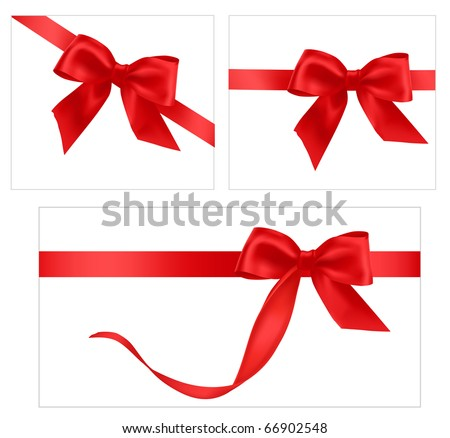 Vector illustration. Collection of red gift bows with ribbons.