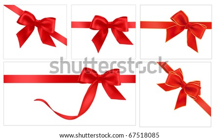 Vector illustration. Collection of red gift bows with ribbons
