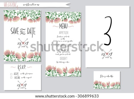 Vector illustration.Collection of wedding invitation templates with pink flowers. Wedding, marriage, save the date. Stylish simple design.  #306899633