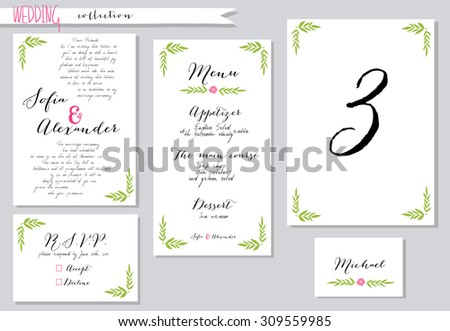 Vector illustration.Collection of wedding invitation templates with pink flowers. Wedding, marriage, save the date. Stylish simple design.  #309559985