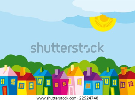 Vector illustration color houses by day