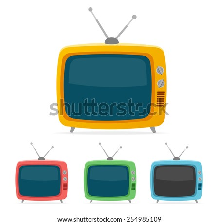 Vector illustration color retro tv set isolated on white background. Flat Design
