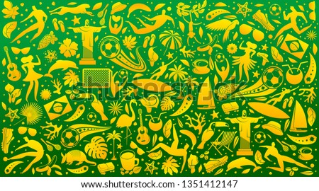 Vector illustration colorful background. World of Brasil pattern with modern and traditional elements. 2019 trend. Championship Conmeball Copa America 2019 in Brazil.