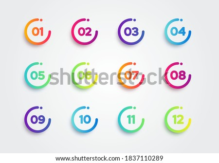 Vector Illustration Colorful Bullet Points. Set Of Number 1 To 12 Stock foto ©