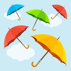 Vector illustration colorful  fly, soaring umbrellas background. Flat Design