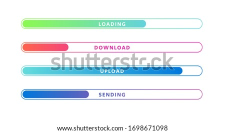 Vector Illustration Colorful Loading Bar Set. Modern Web Element Collection Foto d'archivio ©