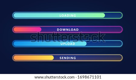 Vector Illustration Colorful Loading Bar Set. Modern Web Element Collection