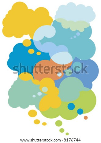 Vector Illustration Colorful thought bubbles - stock vector
