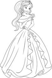 Vector illustration, coloring, beautiful fairy princess dancing at the ball