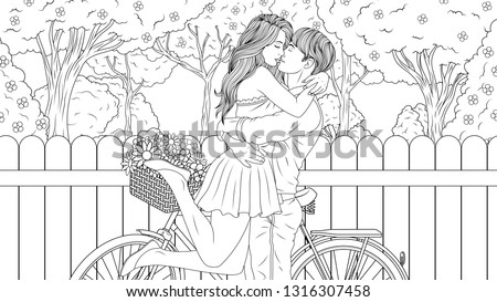 Vector illustration coloring book, hugs of a couple in love in the spring garden, a long-awaited meeting.
