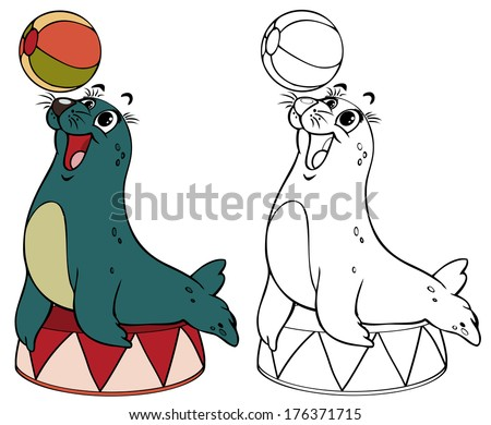 Vector illustration coloring drawing juggler seal cartoon concept