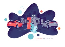 Vector illustration comparing electric versus gasoline car. Electric car charging at charger station vs. fossil car refuel petrol gas station. City skyline in the background. Fluid shape grain style.