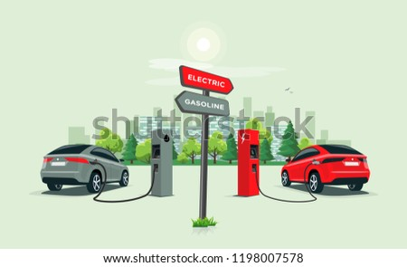 Vector illustration comparing electric versus gasoline car with directional sign. Electric car charging at charger station vs. fossil car refueling petrol at gas station. City skyline in background.