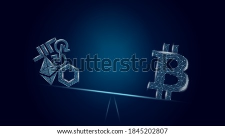 Vector illustration concept Bitcoin advantages over altcoins on a dark blue background. BTC on the scales outweighs a bunch of different coins. Wireframe Bitcoin symbol. Stock photo ©
