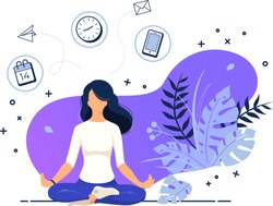 Vector illustration concept business woman practicing yoga and meditation in office. The girl sits in the lotus position, the thought process, the inception and the search for ideas. Time management