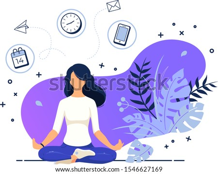 Vector illustration concept business woman practicing yoga and meditation in office. The girl sits in the lotus position, the thought process, the inception and the search for ideas. Time management Foto stock ©