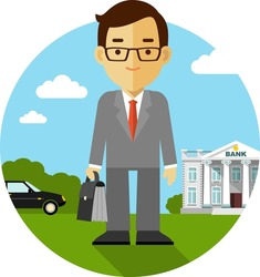 Vector illustration concept. Businessman on background with bank building and car in flat style