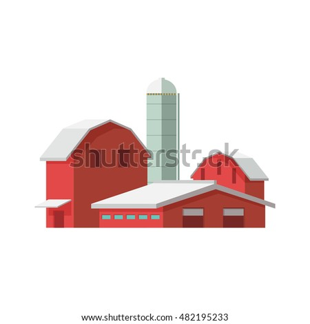 Vector illustration concept  farm icon. Farm buildings on white background