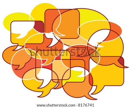 Vector illustration Concept for Communication using patterns of speech bubbles