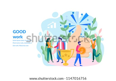 vector illustration Concept for web page, banner, presentation, social media, documents, cards, posters. the hand shows the gesture a class, score five points. people leave reviews
