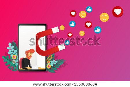 vector illustration concept from paper art styles for digital marketing, social campaigns, engaging with isolated followers on a stylish background