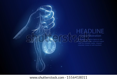Vector illustration concept, hand with a gold medal, for first place, on a deep blue background. symbol of victory, goal achievement, success, perseverance.