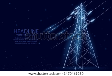 Vector illustration concept, high voltage electrical pylon, on a deep blue background with stars, symbol of energy, and electricity.  Foto stock ©