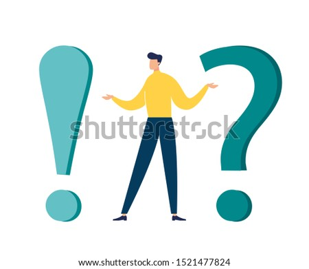 Vector illustration, concept illustration of frequently asked questions of exclamation marks and question marks, metaphor question answer