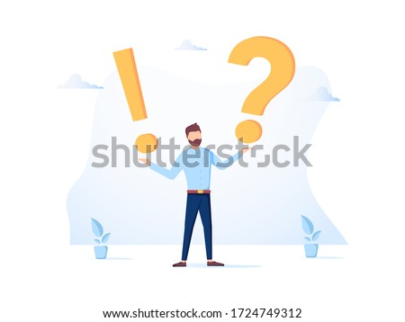 Vector illustration, concept illustration of frequently asked questions of exclamation marks and question marks, metaphor question answer. Man Ask Questions and receive Answers. Online Support, FAQ