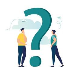 Vector illustration, concept illustration of people frequently asked questions around question marks, answer to question metaphor - vector