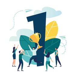 Vector illustration, concept of achieving a business goal vector, winner with a gold cup in his hand, victory in the first place, number one, joyful people around the winner vector