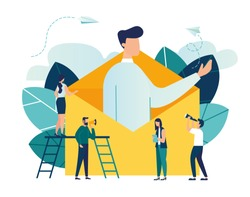 Vector illustration, concept of an e-mail message, a new incoming sms, a large person climbs out of the envelope and notifies the message, mail notification sending vector