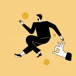 Vector illustration, concept of business motivation and ambition, a big hand gives a person a push to do things, makes a person earn more money,overcomes obstacles and achieves success