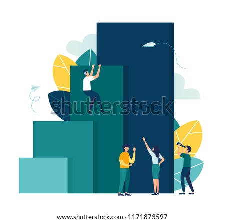 Vector illustration, concept of business motivation and ambition, business team overcomes obstacles and achieves success