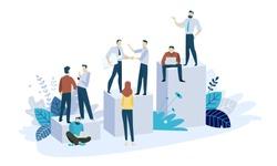 Vector illustration concept of career. Creative flat design for web banner, marketing material, business presentation, online advertising.